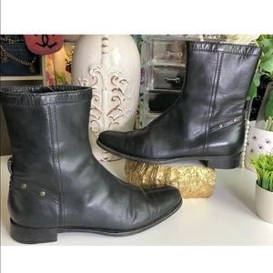 Burberry Auth Leather Studded Moto Booties Vintage